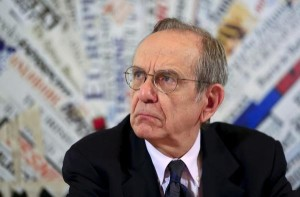 Italian Economy Minister Padoan attends a news conference with the foreign press in Rome
